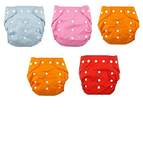 WonderKart New Adjustable Reusable Lot Baby Washable Cloth Diaper Nappies Pack Of 5 Piece - Color May Vary