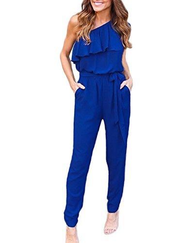 Auxo Donna Jumpsuit Pantaloni Lunghi V Scollo Playsuit Tuti Eleganti Vestiti Senza Spalline