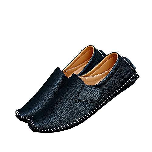 Leobtain Männer Leder Fahren Schuhe Runde Form Weich Atmungsaktiv Einfach Beiläufig Männlich Schuhe Vintage Retro - Runde Cabinet