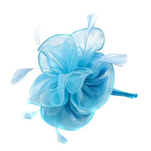 Scrolor Braut Kopfschmuck Bunte Flapper Stirnband Blumen Design Mesh Kopfbedeckung für Mädchen Party Prom(Blau,free) (Flapper-frisuren Für Lange Haare)