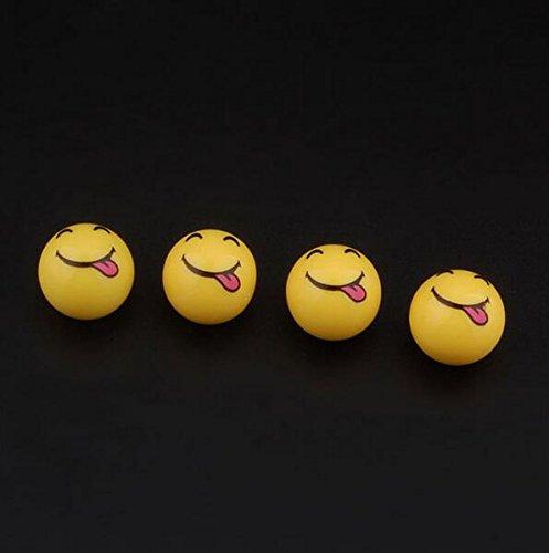4pcs / set Mini-Emoticon-Plastik-runder Lächeln-Smiley-Kugel-Gesichts-Ausdruck-Form-Auto-Reifen-Kappen-Selbstrad-Reifen-Luft-Ventil-Staub-Abdeckungen Lexitek (Zunge) Truck Felgen Chrom