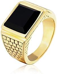 Taizhiwei simples anillo circones negro titanio acero inoxidable anillos talla piedra personalizado dorado hombre