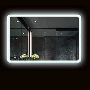 Turefans Badezimmerspiegel, LED Spiegel, Kaltweiß (6400K) + 5050LED + wasserdicht + Berührungsschalter (50 * 70 cm)