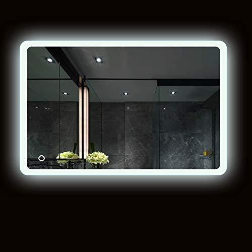 Turefans Espejo de baño,Espejo led,Frío Blanco 6400K + 5050LED + Impermeable + Interruptor táctil...