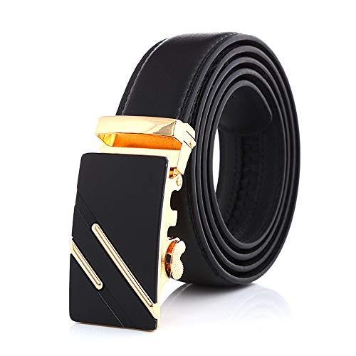 Noble Belts Ledergürtel für Herren, edler Gürtel aus Echt-Leder mit goldener Schnalle, Schnellverschluss (schwarz) (Gold, 105)