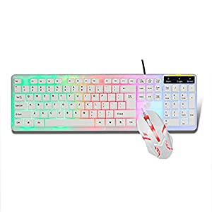 Gaming-Tastatur/Maus-Set, Rainbow Backlit Ergonomische Verdrahteten USB-Gaming-Tastatur Optische LED Verdrahteten USB-Gaming-Maus Für Laptop-Spiele Wissen