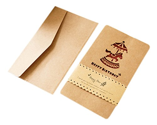 Kreative Geschenk-Grußkarten-Sammlung, 10 Stück Karten & Umschläge, Braun, Karussell