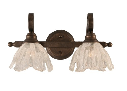 Toltec Lighting 152-BRZ-759 Curl Two-Light Bath Bar Bronze Finish with Italian Ice Glass Shade, 7-Inch by Toltec Lighting
