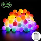 GoodGoodday 10M 100 Leds Guirnalda Exterior, Impermeable IP65 3AA Pilas &...