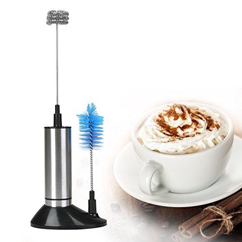Willingood Elektrische Milchschäumer [Dreifaches Quirl, Grundständer Und Reinigungsbürste] Milchaufschäumer für affee, Latte, Cappuccino, heiße Schokolade