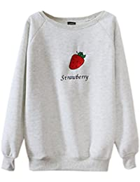 Mooncolour Women's Strawberry Embroidery Loong Sleeve Pullover