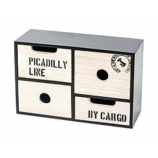 ArtiCasa Mini-Kommode aus MDF, 4 Schubladen mit Grifflöchern, Industriedesign, freistehend, schwarz/Natur, Höhe ca. 16,5 oder 30 cm (Höhe 16,5 cm)