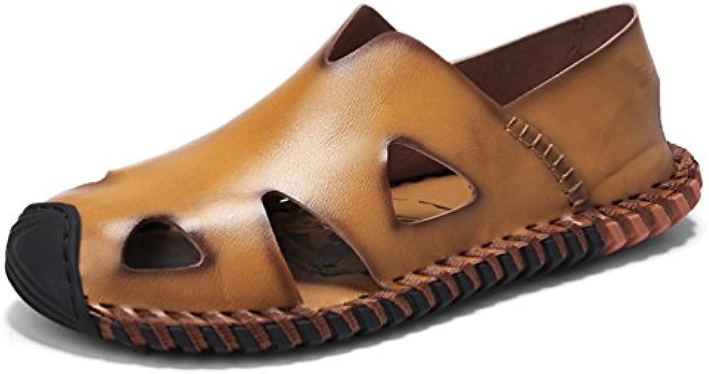 Hombres Sandalias Zapatos de Cuero Genuino Verano Nueva Moda Zapatillas Chanclas