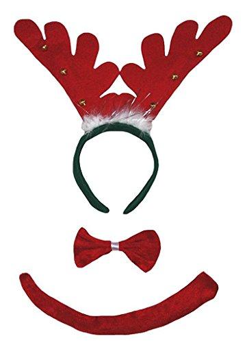 Kostüm Schwanz Deer - Petitebelle 3D-Stirnband Bowtie Schwanz Kostüm für Erwachsene Einheitsgröße 3d Ring Deer Rot