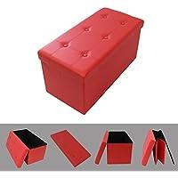 Todeco - Almacenamiento Banco, Almacenamiento Otomano Plegable de Cuero - Carga máxima: 150 kg - Material: Imitación de cuero - Acabado cosido y copetudo, 76 x 38 x 38 cm, Rojo