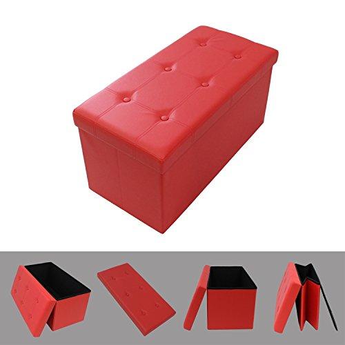Faltbarer Aufbewahrungshocker 76 x 38 x 38 cm - komfortabler und eleganter Sitzhocker mit einem Bezug aus Rot Kunstleder