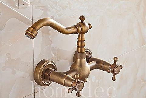Laiton antique bronze UHM poignée murale robinet de cuisine salle de bain 2 trous mélangeur