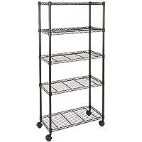 EGLEMTEK Mueble estantería Organizador con 5 estantes de Metal con Ruedas (Color ...