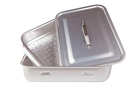 Agnelli Töpfe eckig Dampf mit Deckel, 2Griffe, Aluminium, Silber, 50x 33cm