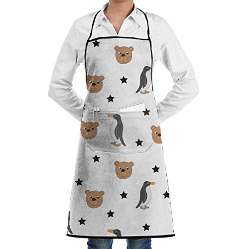 Kostüm Bear Cat - Baking Apron Cute Bear and Penguin Pattern Menâ€s Womenâ€s Unisex Food Kitchen Long Aprons Sleeveless Overalls Portable with Pocket for Cooking,Baking,Crafting,Gardening,BBQ