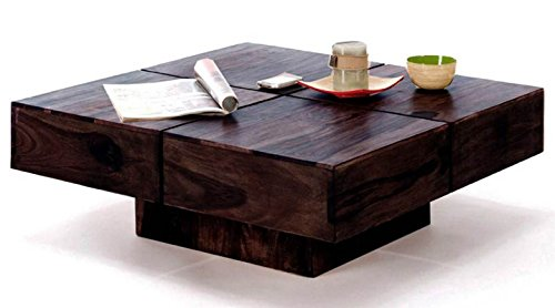 TimberTaste Cento Solid Wood Coffee Table (Dark Walnut Finish)