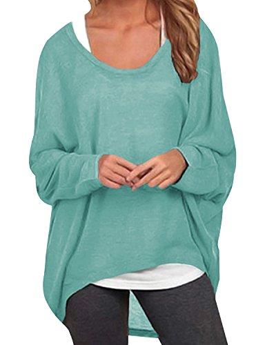 Weicher Pullover Kleid (ZANZEA Damen Lose Asymmetrisch Jumper Sweatshirt Pullover Bluse Oberteile Oversize Tops Grün EU 46/Etikettgröße XL)