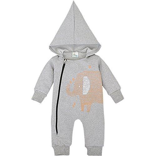 Bebone Baby Strampler Jungen Mädchen Overall Babykleidung (9-12 Monate, Grau)