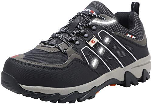 Zapatos de Seguridad para Hombre Zapatillas de Seguridad Trabajo Industrial y Deportiva con Puntera de Acero LM-105 (Negro, 42 EU)