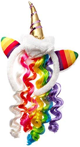 Leg Avenue A1962 - Einhorn Diadem Mit Plüschohren Und Schwanz In Regenbogenfarben