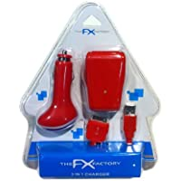 The FX Factory 3-In-1 UK Mains and In-Car USB Charger for Apple iPod, iPhone and iPad 2 - Red