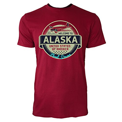 Sinus Art ® Herren T Shirt Welcome To Alaska ( Independence_Red ) Crewneck Tee with Frontartwork (Tee Alaska)