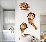 Divertido Gato 3 Unids Set Pegatinas de Pared Para Habitación de Niños Dormitorio Baño Refrigerador Arte Impermeable Pegatinas de Aseo 3D