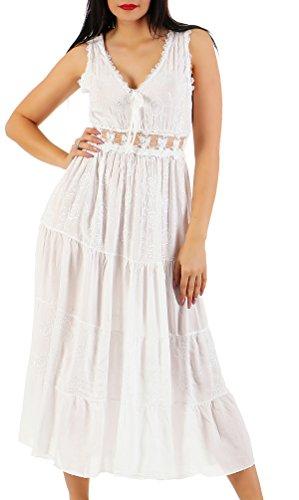 ZARMEXX Damen Maxikleid Sommerkleid Volant langes Empire Kleid Strandkleid Weiß