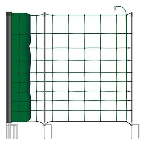50m Elektrozaun - Netz VOSS.farming , tannengrün, Euro, 106cm, 20 Pfähle dadurch besonders Stabil grün Agility
