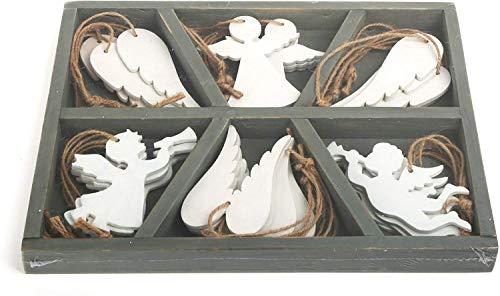 small foot Deko-Hänger aus weißem Holz in Engels-Form, in unterteilter Holzbox im Shabby-Chic Look, wunderschöne Weihnachtsdeko für Baum und Fenster Dekoornament, 24 x 19 x 2 cm