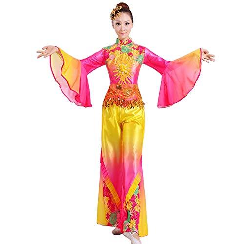 Tenthree Chinesischer Nationaltanz Set Bekleidung - Klassik Tanzen Frauen Bestickt Fan Dance Bühnenaufführung Slim Fit Kostüm