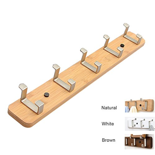 Wall-mounted Coat Rack-regal (Wooden Coat Rack Wall Mounted mit 5 Stahlhaken ( Farbe : Natürlich ))