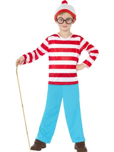 Where's Wally Fancy Dress Kinder Kostüm Where's Wally-Kostüm, groß, Alter 10-12 (Wheres Wally Halloween Kostüme)