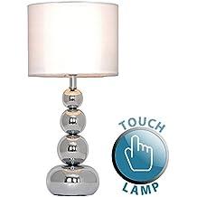 MiniSun - Moderna lámpara de mesa táctil con base de columna de esferas - en plata y pantalla blanca estilo seda