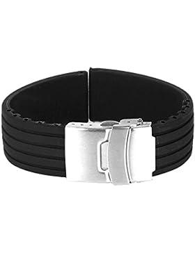 WINOMO 20mm wasserdicht Streifen Muster Silikon Watch Band Strap(Black)
