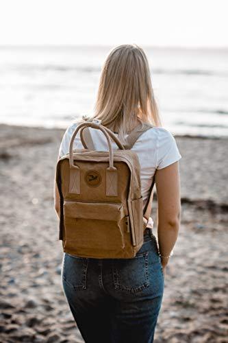 PAPERO ® aus Kraft-Papier | 2 in 1 Handtaschen Rucksack | robust, wasserfest ultraminimalistisch -Lynx- ✅ Vegan nachhaltig ♻ Damen Kleiner Backpack Platz für Laptop| FSC® Zertifiziert |, Urban Style - 6