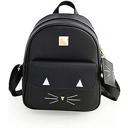 TOOGOO Mochila de gato lindo de mujer de moda Bolsa de hombro de cuero de PU Bolsa para la escuela Macuto informal negro