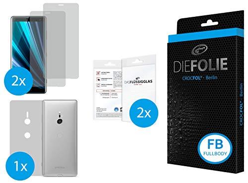 Crocfol Fullbody frustfreier Bildschirmschutz für Sony Xperia XZ3: 2X DIEFOLIE Schutzfolie für die Vorderseite [FULLCOVER] & 1 x DIEFOLIE für die Rückseite [Backcover], inkl. 2X DASFLÜSSIGGLAS