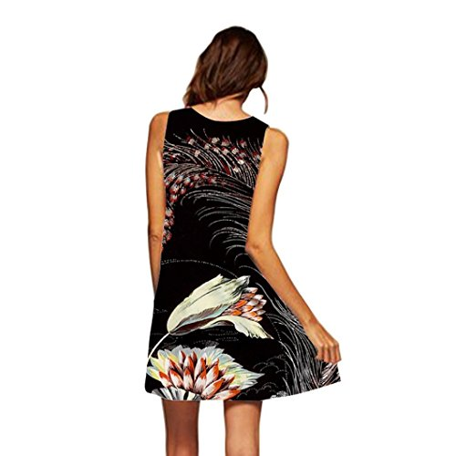 MRULIC Damen Lovely Mini Floral Printing A-Linie Kleider Beach Dress Vintage Boho Frauen Sommer...