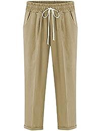 Qitun Pantalons Sarouel Femme Taille Élastique Décontracté Pantacourt Baggy  Grande Taille Confortable c47e385f960