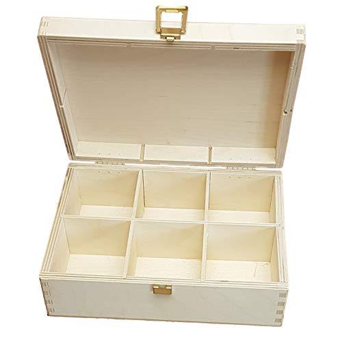 KF-Holz Teebox mit 6 Fächern, Sammelbox, Schmuckschatulle