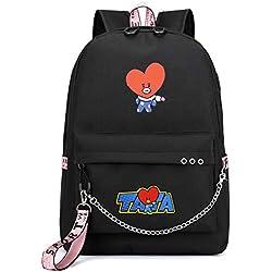 ZIGJOY Kpop BTS BT21 Mochila Mochila Mochila escolar con puerto de carga USB Cooky Tata Rj Chimmy Shooky Mang Koya For Fans Tata Black