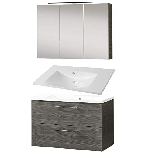 FACKELMANN Badmöbel Set Vadea 3-tlg. 90 cm anthrazit mit Waschtisch Unterschrank & Gussbecken & LED Spiegelschrank
