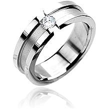 Anillo anillo de sujeción de acero inoxidable Mujer Hombre Partner alianzas Circonita anillos de compromiso