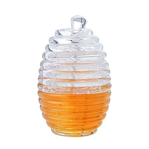 Dsar Dispensador de Miel, Transparente Colmena de Acrílico Honey Pot con Cazo y Tapa, 265 ml